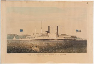 "The Low Pressure Steamboat ""Isaac Newton"". Passing The Palisades On The Hudson River New York, Nathaniel Currier"