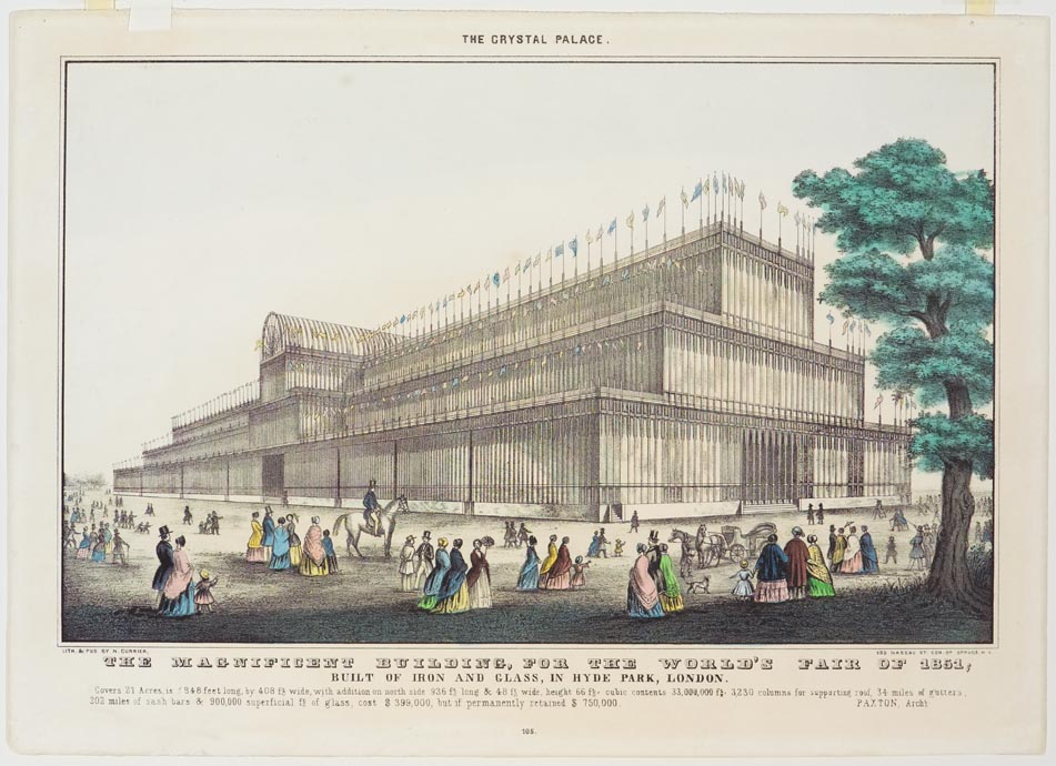 """Very top center above building sketch """"The Crystal Palace"""""""