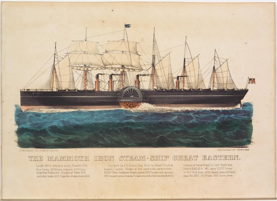 Steam ship sailing to left in image