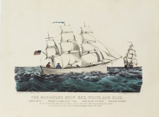 The Miniature Ship RED, WHITE And BLUE., Currier & Ives