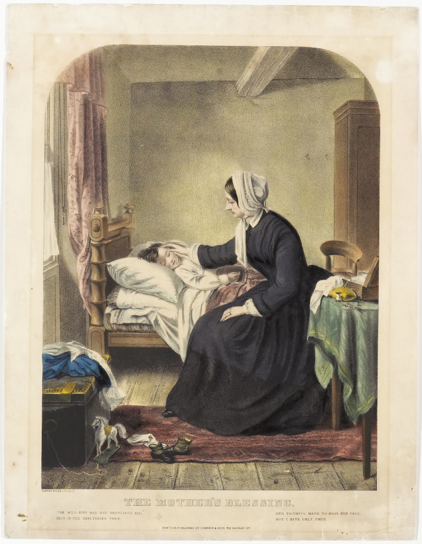 Woman seated on bed nursing child lying asleep