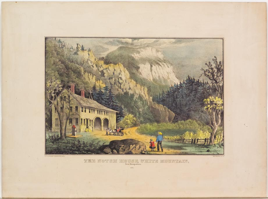 Landscape scene with buildings to left down in valley