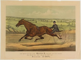 The Queen Of The Turf MAUD S., Driven By W.W. Bair By Harold, Dam Miss Russell, By Pilor, Jr. Record 2:08 3/4, Currier & Ives