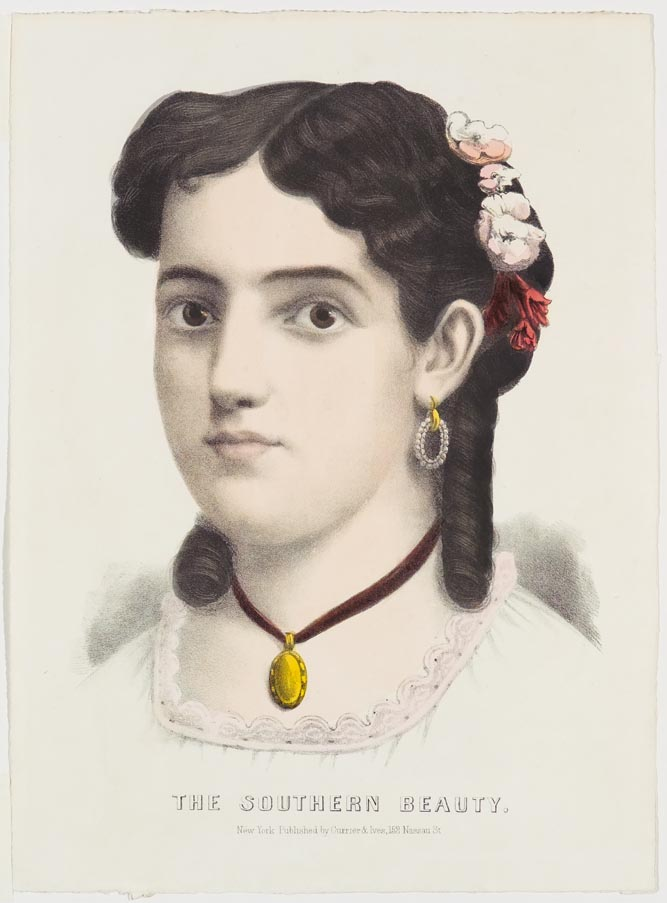 Young girl with flowers in hair (proper left) pink collar to white dress