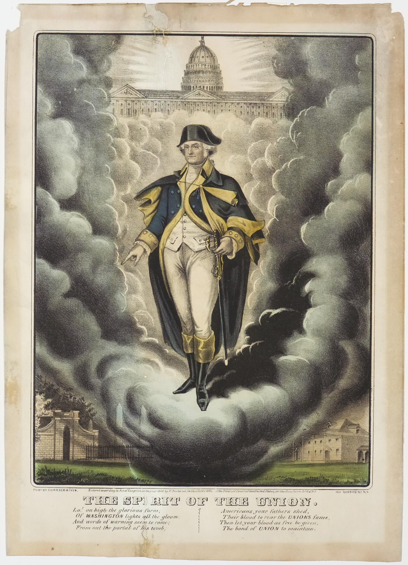 George Washington standing at center in clouds below capital building center top