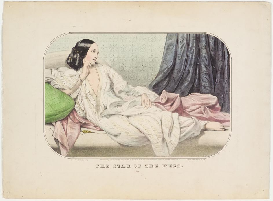 A woman reclining on a couch
