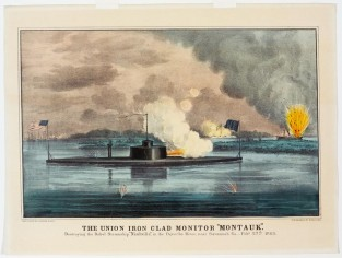 "The Union Iron Clad Monitor ""MONTAUK"" Destroying The Rebel Steamship ""NASHVILLE"" In The Ogeeche River, Near Savannah, GA. Feb. 27th, 1863., Currier & Ives"