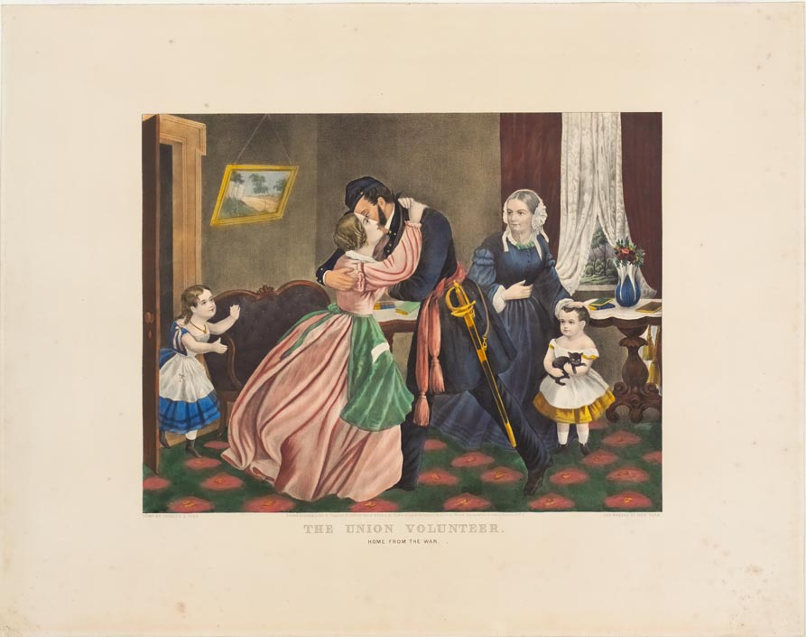 Soldier in parlor being greeted by wife and children