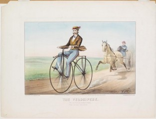 The Velocipede. We Can Beat The Swiftest Stead, With Our New Velocipede., Currier & Ives