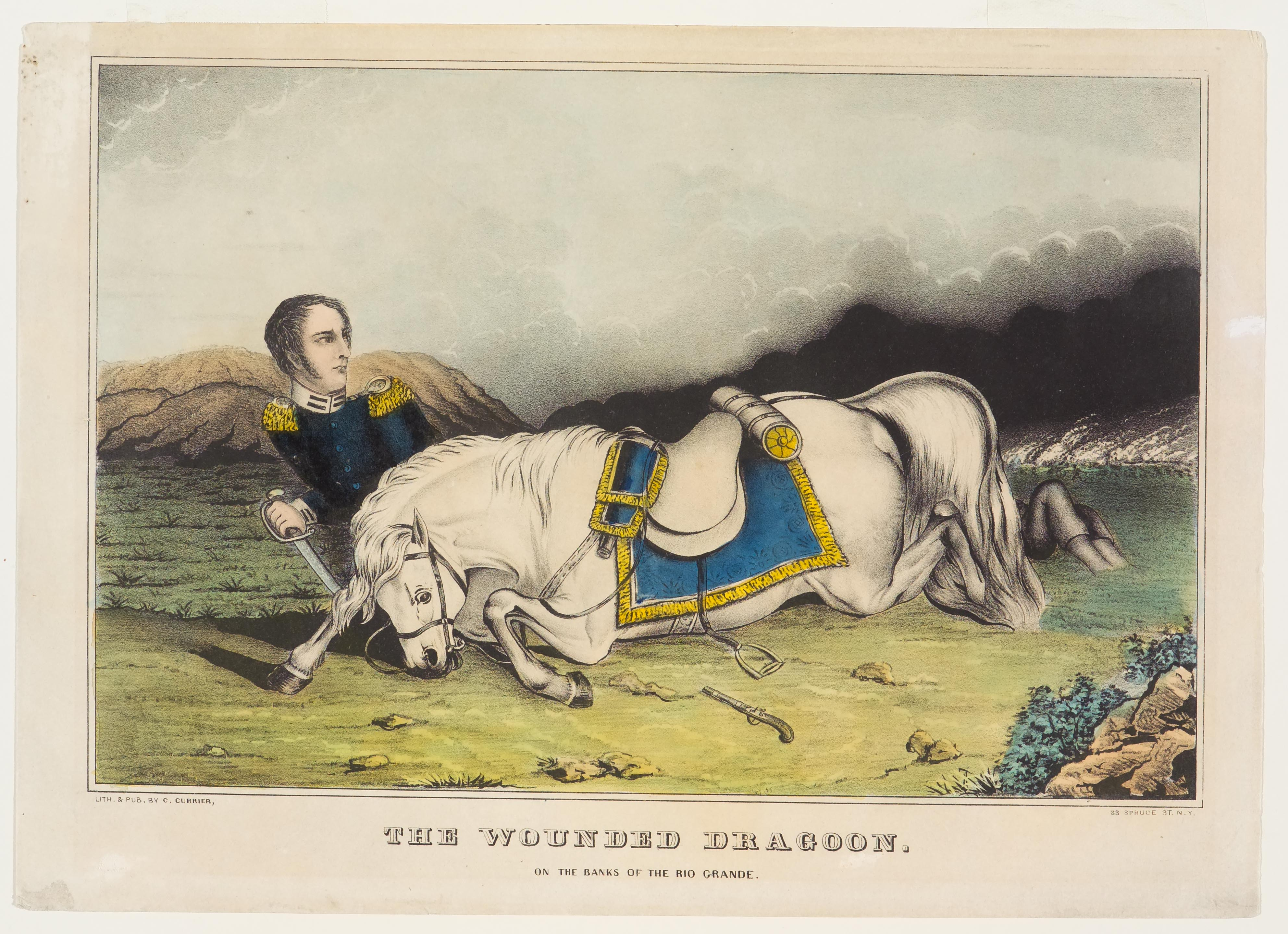 Dragoon lying under upper portion of his fallen white horse's head and neck
