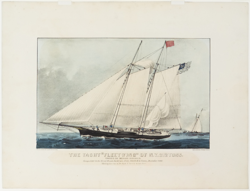 Ship sailing to left in image