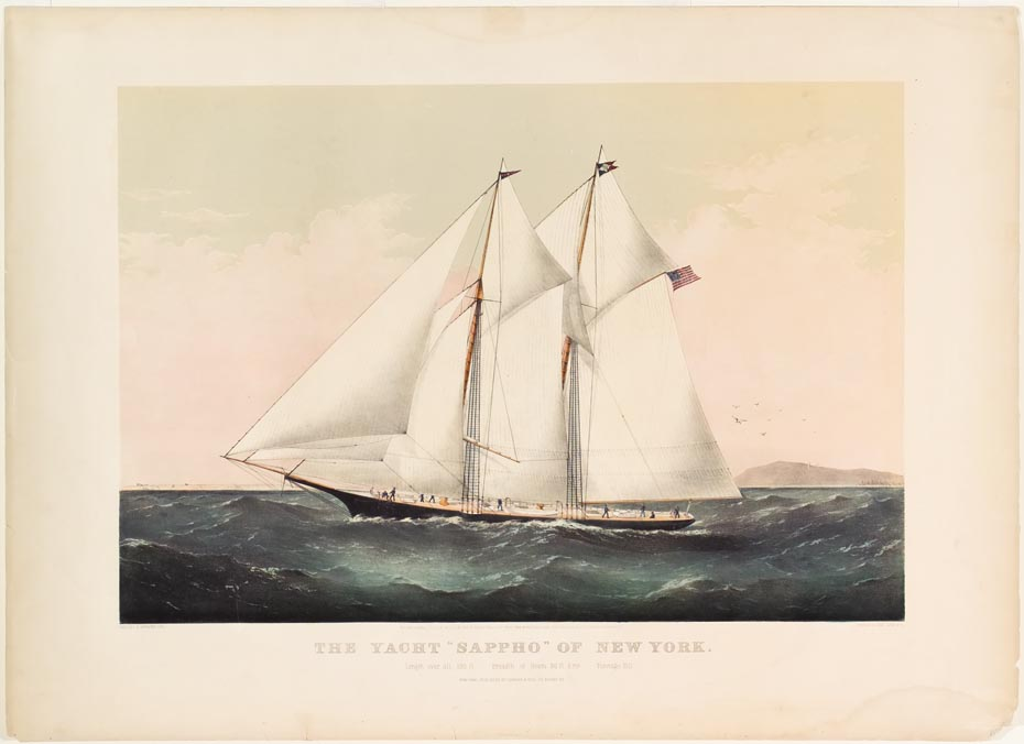 Ship flying American flag off right - sailing to left in image