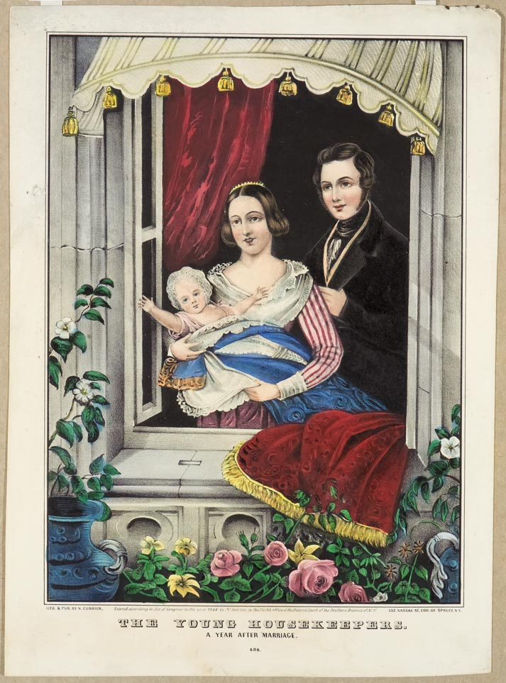 Man and woman holding infant wrapped in blue blanket standing at open window