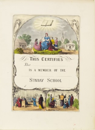 This Certifies That Is A Member Of The Sunday School Of, Currier & Ives