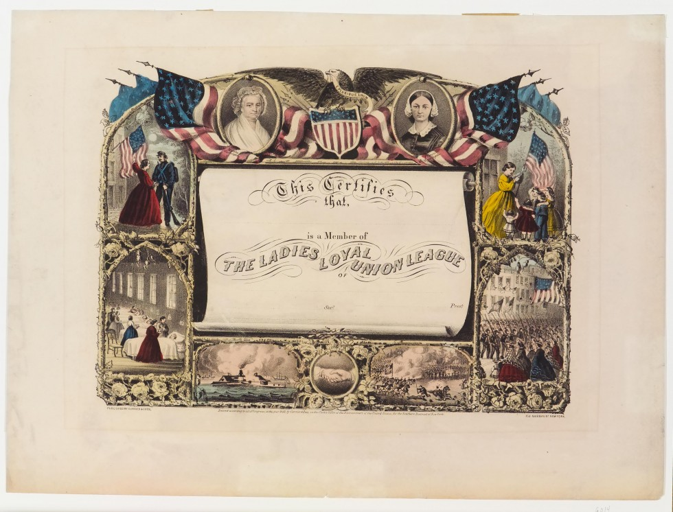 Scroll in center - oval in upper left corner of Martha Washington; oval upper right corner Florence Nightingale; six war scenes surround scroll and bottom center is circle of two hands joined in a handshake