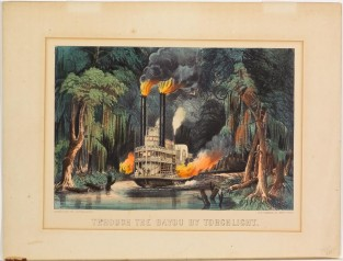 Through The Bayou By Torchlight, Currier & Ives