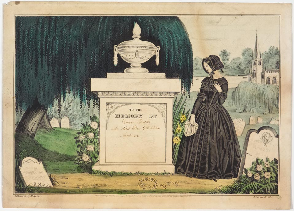 Woman looking at tomb to left of her in image