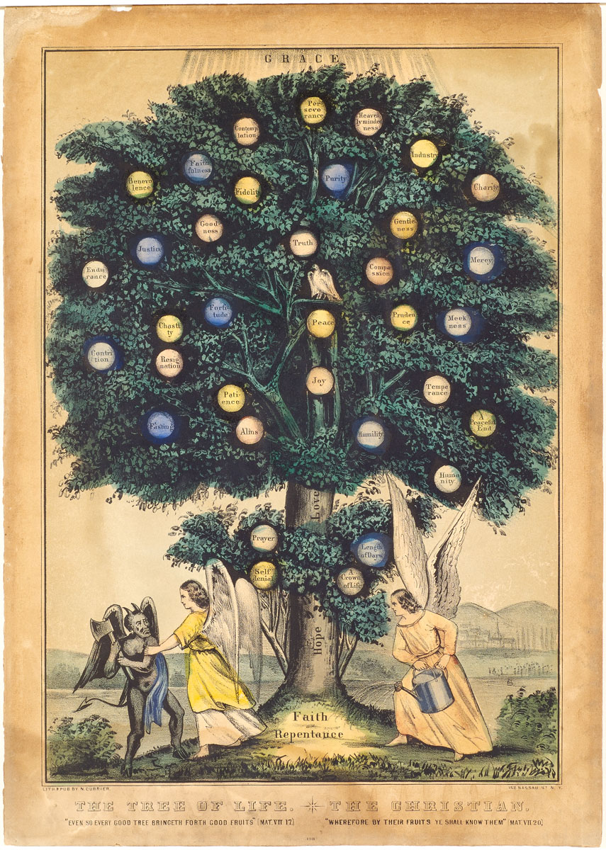 Tree at center with two angels and devil standing below in confrontation
