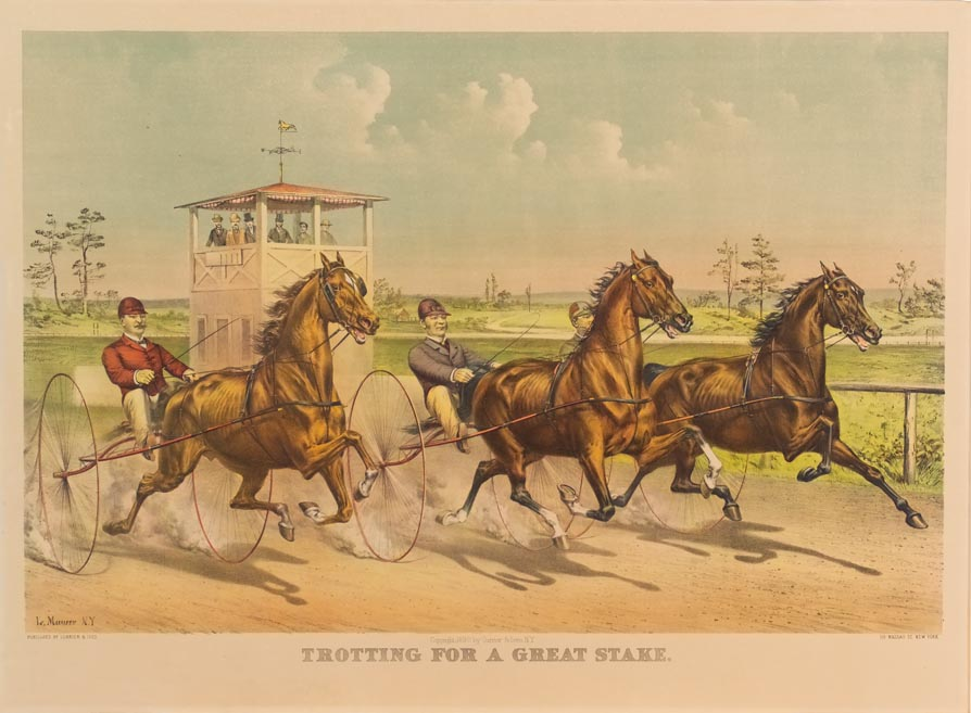 Single trotter and a double trotter on track with spectator stand behind and to left