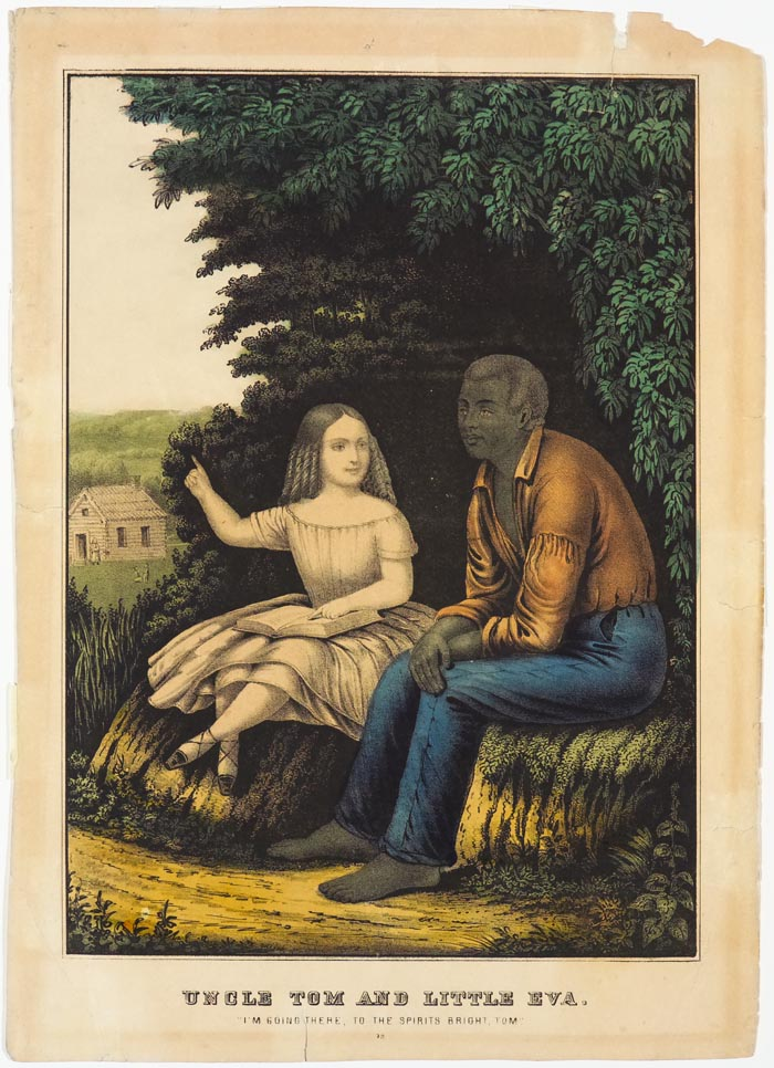 Young girl seated on rock to left of an African American adult male