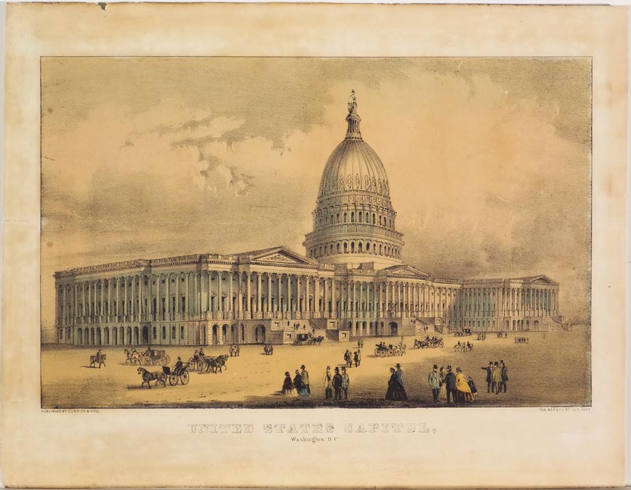 United States Capitol building at center with people walking and horse and carriages moving on ground in front