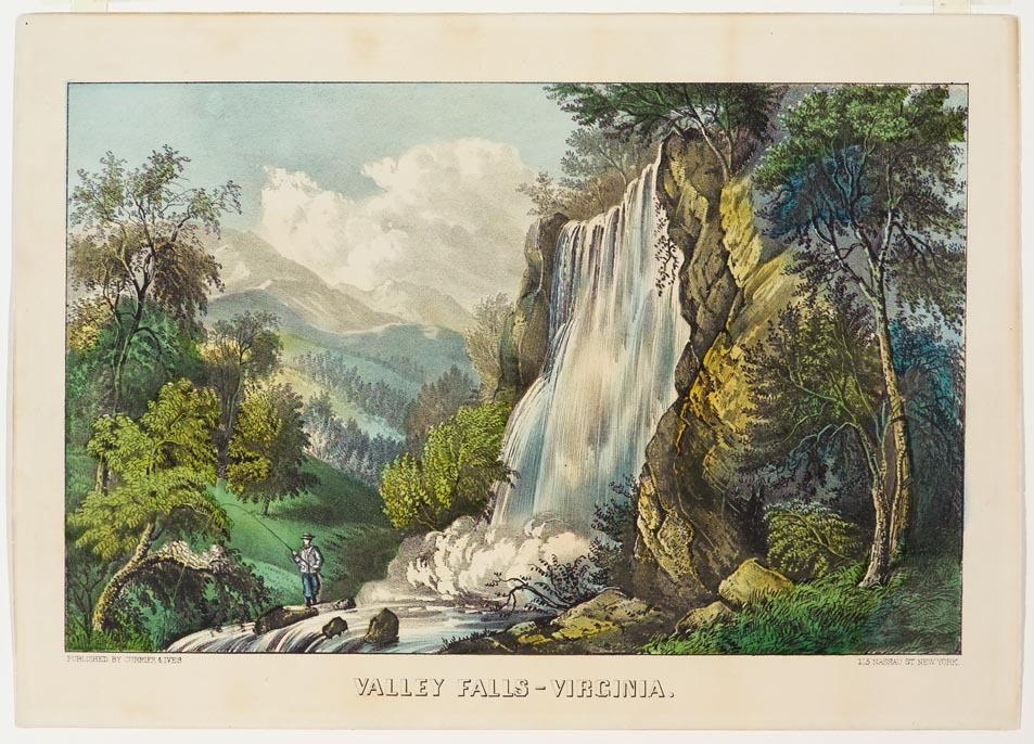 Waterfalls in center with cliff and trees to right