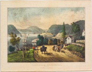 View From Peekskill. Hudson River, NY, Currier & Ives