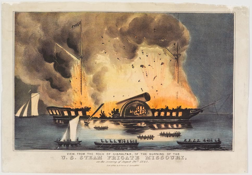 Ship in flames at center