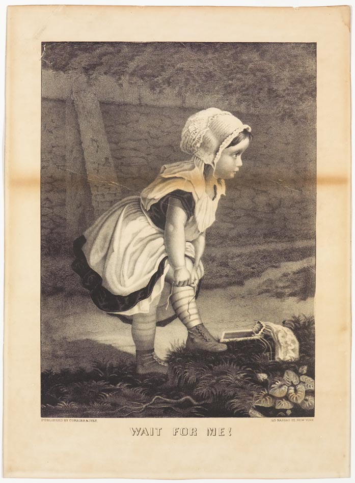 Young girl facing right in image stooping to fix a stocking along a path
