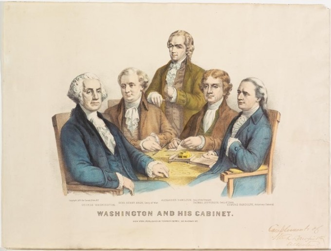 george washington cabinet washington and his cabinet currier amp ives springfield 15792