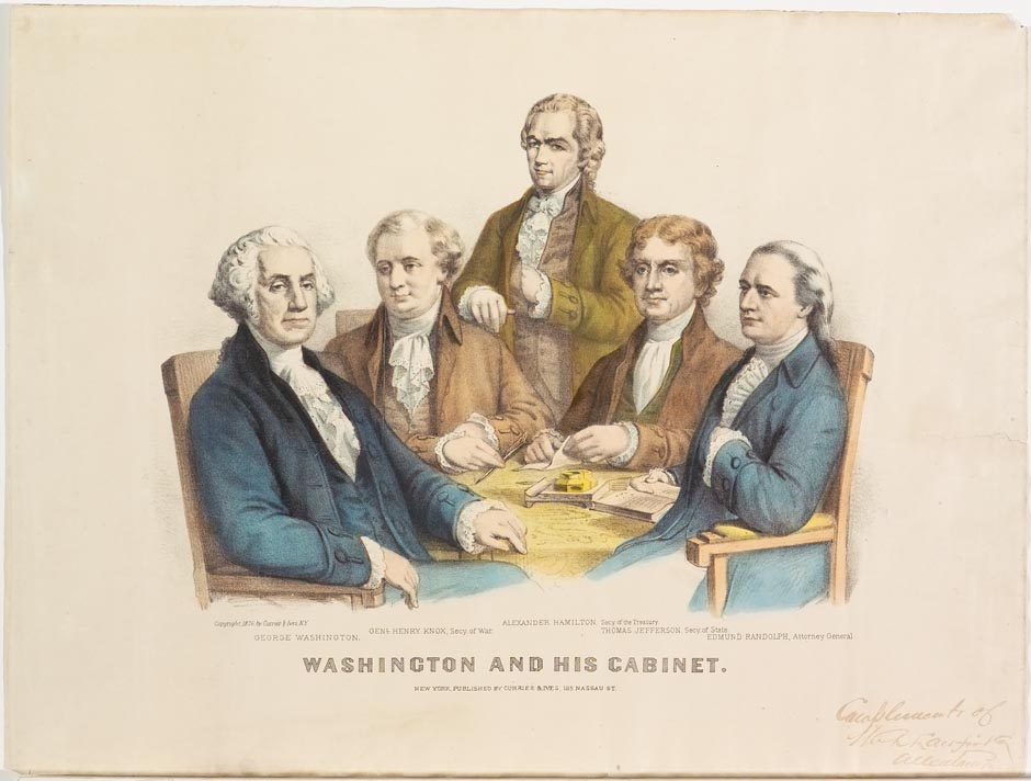 George Washington and four members of Cabinet seated around table