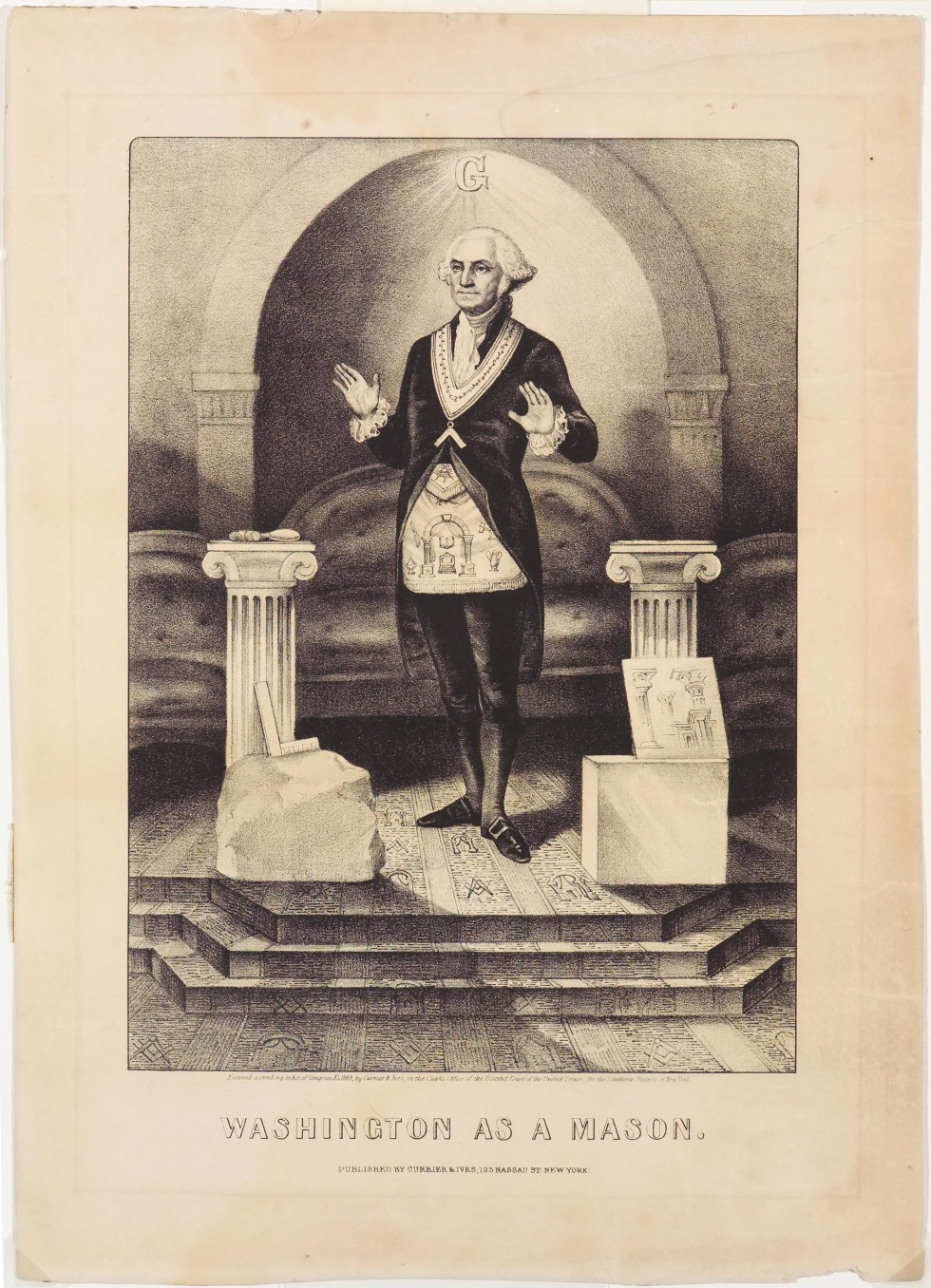 George Washington standing between to hip-high columns with palms raised out