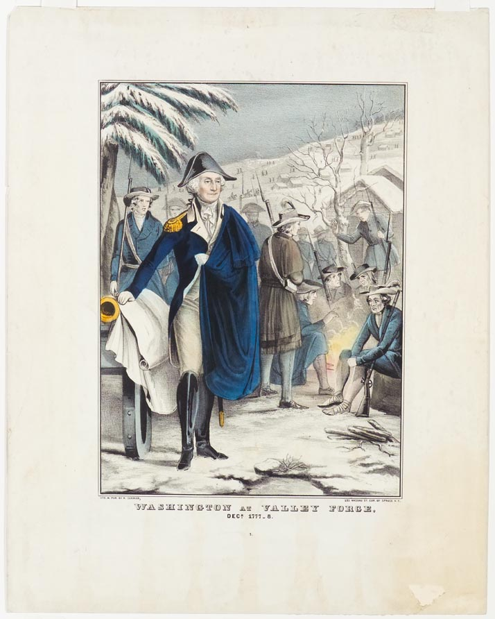 George Washington to left of center with blue cape across his proper right shoulder