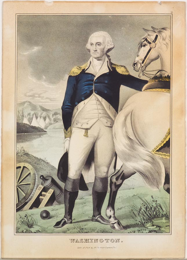 George Washington standing at center facing left in image next to his horse who looks back at him