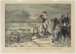 Washington Crossing The Delaware. Evening Previous To The Battle Of Trenton, Decr. 25th 1776, Nathaniel Currier