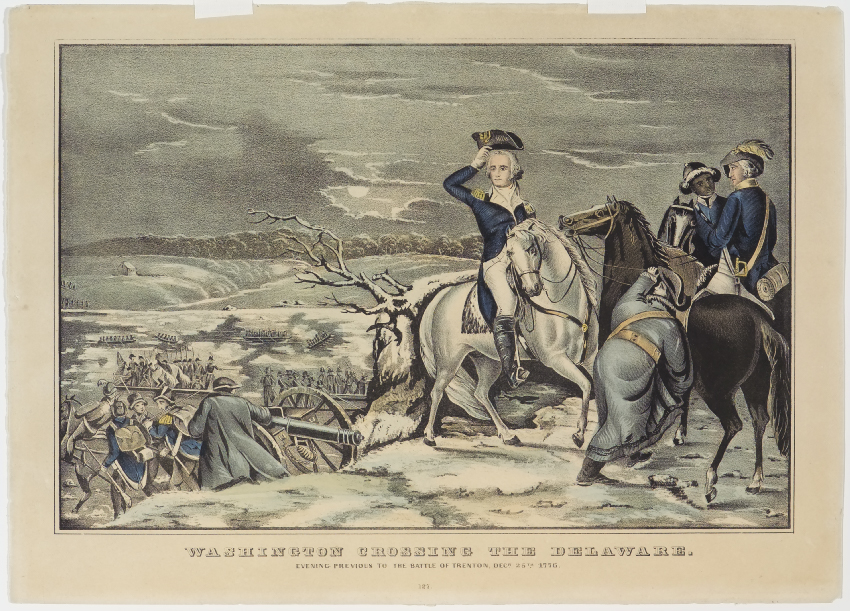 Washington on horse back to right of center facing viewer