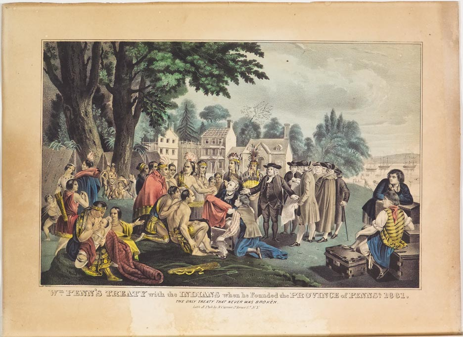 Gathering of Native Americans with William Penn and other men at center