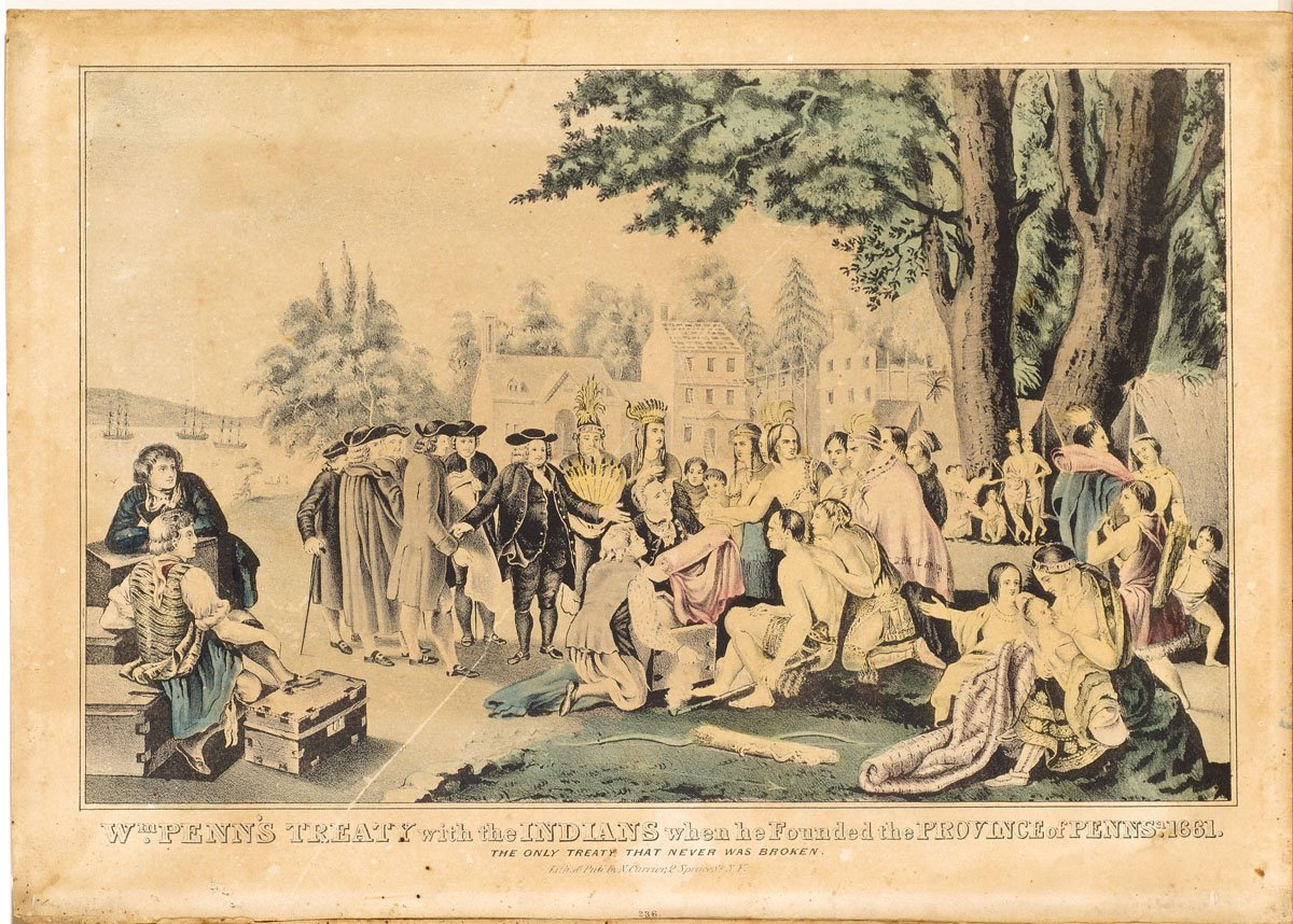 William Penn meeting with Indians along shore showing Indians fabrics and goods from chests