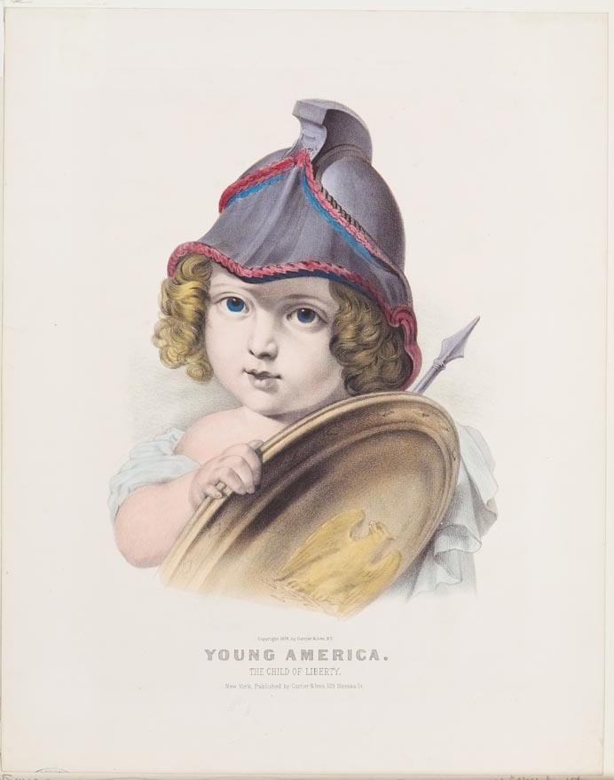 Young child with blonde curly hair wearing a helmet and holding a shield and sword against proper left shoulder