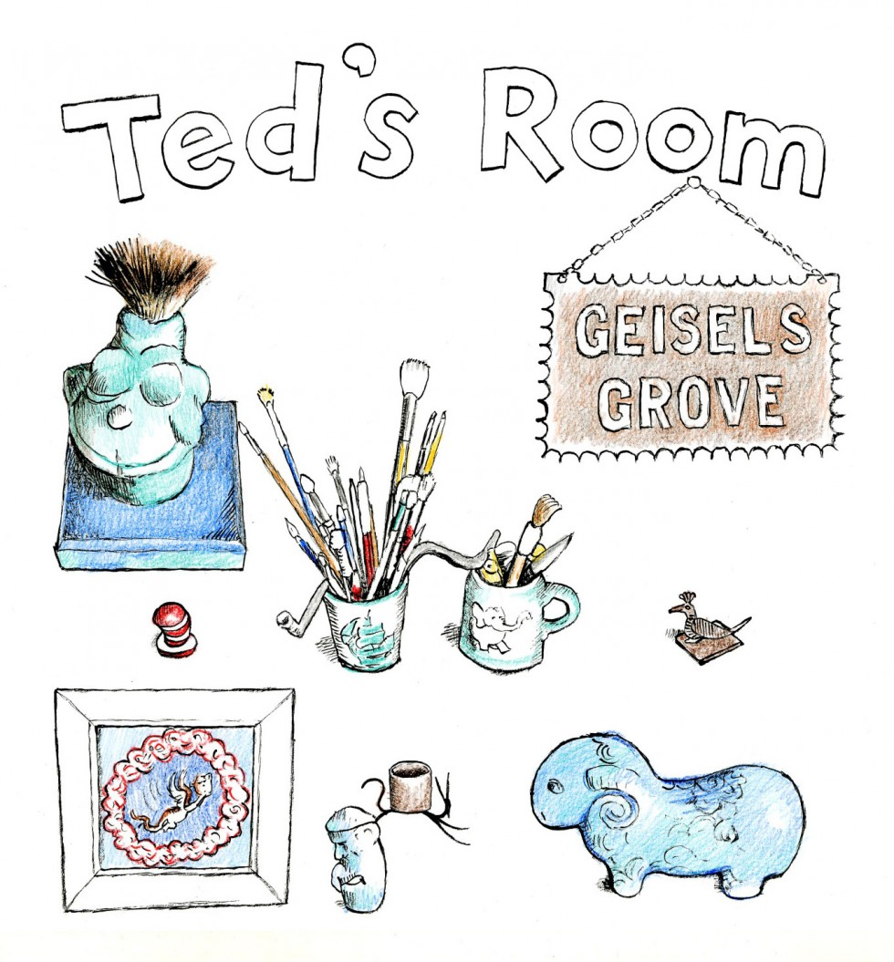 Artist renderings of items that may be found in Ted's Room at the Springfield Museums. Illustrations by John Simpson.