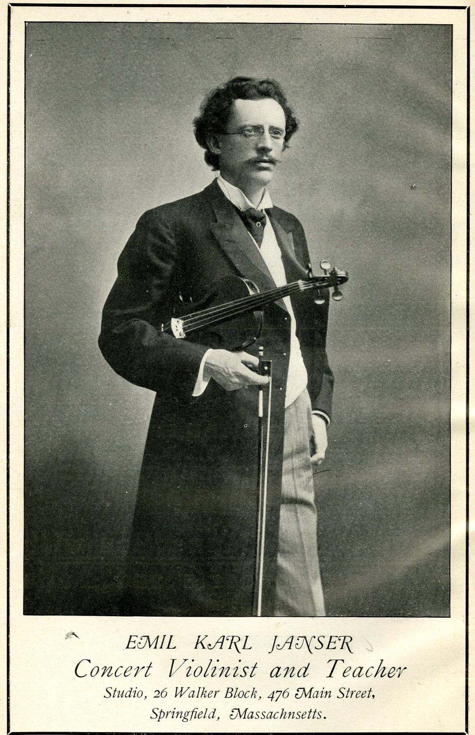 Emil Karl Janser, Concert violinist and Teacher. This photo was taken in 1904.