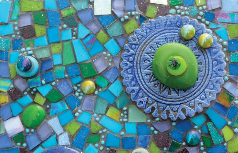 Mosaic Picture from glass and ceramic broken tile