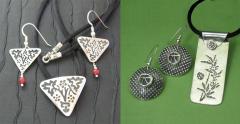 Precious Metal Clay earring and pendant sets.