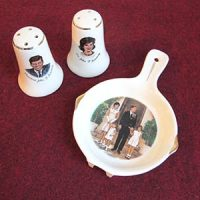 Salt & Pepper Shakers, President John F. Kennedy  & Mrs. John F. Kennedy, 1960s; Ceramic Spoon Rest, Circa 1963
