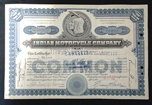 Indian Motocycle Stock Certicate
