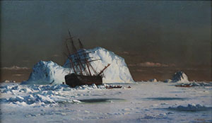 A Bradford Oil Painting Of A Turn Of The Century Sailing Vessel Frozen In Ice Beside An Iceberg.