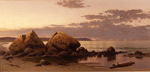 A Britcher Oil Painting In Shades Of Brown, Pink, And Yellow Of A Sunrise Over A Rocky Beach