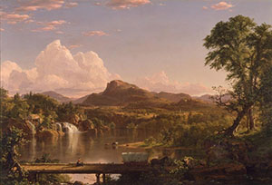 A Frederick Church Oil Painting Of A Lake With Craggy Mountains In The Distance And Trees And A Waterfall Framing The Glassy Lake Water In The Center