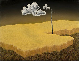 A Cox Oil Painting Of Wheat Fields Tufted Bright Yellow Above Short Green And Brown Grasses With A Sky Of Brown And Black Wit A Small Gathering Of Clouds Beside An Electricity Pole Which Is Placed Almost Halfway Into The Composition
