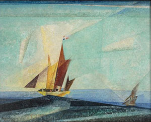 A Cubistic Feininger Oil Painting In Various Shades Of Blue And Blue Green Of Two Sailing Boats On A Rising Sea